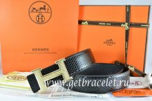 Hermes Reversible Belt Black/Black Snake Stripe Leather With 18K Gold Plates Strip H Buckle