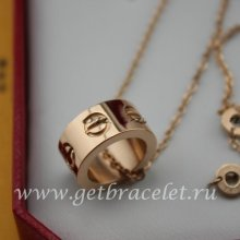 Copy Cartier LOVE Pink Gold Necklace