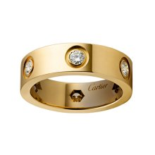 Replica Cartier Love Ring In Yellow Gold Set With 6 Diamonds