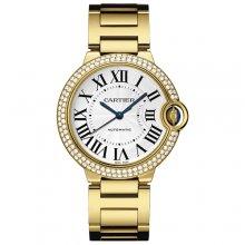Ballon Bleu de Cartier medium swiss automatic watch 18kt yellow gold diamonds bezel
