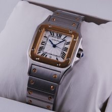 Cartier Santos Galbee womens watch two-tone 18K yellow gold and steel
