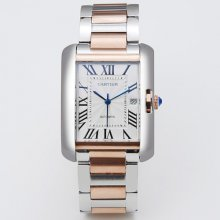 Cartier Tank Anglaise extra large watch for men W5310006 two-tone pink gold and steel