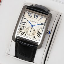 Cartier Tank MC swiss quartz watch for men steel silver dial black leather strap