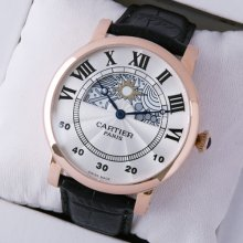 Rotonde de Cartier day-night collection privee 18K pink gold imitation watch for men
