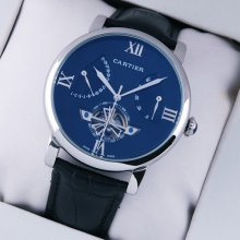 Rotonde de Cartier tourbillon blue dial replica watch for men steel black leather strap