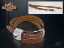 Hermes Double Tour Leather Bracelet Brown With Silver