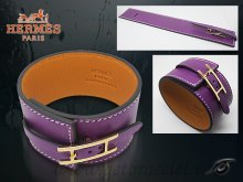 Hermes Fleuron Large Leather Bracelet Purple With Gold