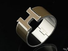 Hermes Brown Enamel Clic H Bracelet Narrow Width (33mm) In Silver