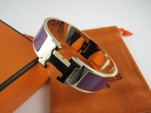 Hermes Purple Enamel Clic H Bracelet Narrow Width (18mm) In Gold