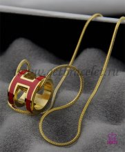 "Hermes 3D Pop ""H"" logo Snake Bone Red Necklace in Yellow Gold"