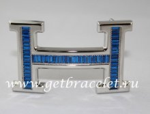 Hermes Reversible Belt 18k Silver With Blue Diamonds H Buckle