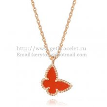 Van Cleef Arpels Lucky Alhambra Butterfly Necklace Pink Gold With Carnelian Mother Of Pearl