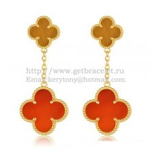 Van Cleef & Arpels Magic Alhambra Earrings Yellow Gold With Tiger's Eye Carnelian