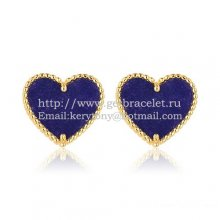 Van Cleef & Arpels Sweet Alhambra Heart Earrings Yellow Gold With Lapis Stone Mother Of Pearl