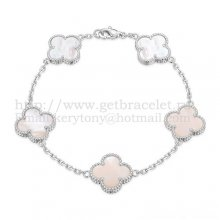 Van Cleef & Arpels Vintage Alhambra Bracelet 5 Motifs White Gold With White Mother Of Pearl