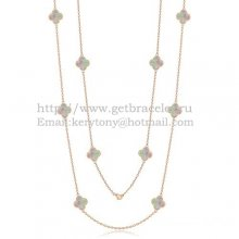 Van Cleef & Arpels Vintage Alhambra Necklace Pink Gold 10 Motifs With Gray Mother Of Pearl