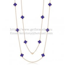 Van Cleef & Arpels Vintage Alhambra Necklace Pink Gold 10 Motifs With Lapis Stone Mother Of Pearl