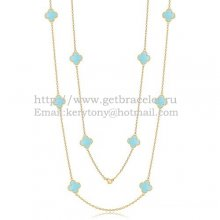 Van Cleef & Arpels Vintage Alhambra Necklace Yellow Gold 10 Motifs With Turquoise Mother Of Pearl