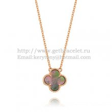 Van Cleef & Arpels Vintage Alhambra Pendant Pink Gold Colorful Mother Of Pearl 15mm