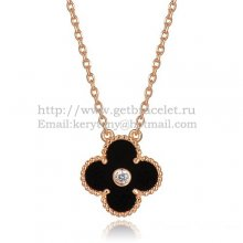 Van Cleef & Arpels Vintage Alhambra Pendant Pink Gold With Black Agate Mother Of Pearl Round Diamonds