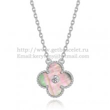 Van Cleef & Arpels Vintage Alhambra Pendant White Gold With Gray Mother Of Pearl Round Diamonds