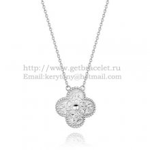 Van Cleef & Arpels Vintage Alhambra Pendant White Gold With Round Diamonds