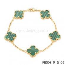 Fake Van Cleef & Arpels Bracelet Jaune Avec 5 Motifs De Couleur Verte