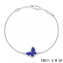 Replica Van Cleef & Arpels Sweet Alhambra Bracelet In White With Purple Butterfly
