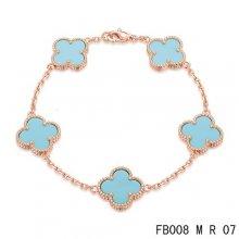 Cheap Van Cleef & Arpels Alhambra Bracelet In Pink With 5 Blue Clover
