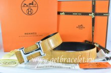 Hermes Reversible Belt Orange/Black Crocodile Stripe Leather With18K Silver Idem With Logo Buckle