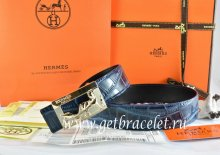 Hermes Reversible Belt Blue/Black Crocodile Stripe Leather With18K Gold Coach Buckle