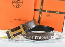 Hermes Reversible Belt Brown/Black Crocodile Stripe Leather With18K Yellow Silver H Buckle