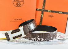 Hermes Reversible Belt Brown/Black Crocodile Stripe Leather With18K White Silver H Buckle