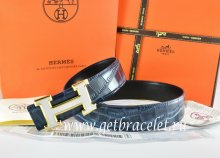Hermes Reversible Belt Blue/Black Crocodile Stripe Leather With18K White Gold H Buckle