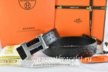 Hermes Reversible Belt Black/Black Ostrich Stripe Leather With 18K Drawbench Silver H Buckle