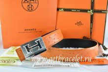 Hermes Reversible Belt Orange/Black Ostrich Stripe Leather With 18K Silver Big H Buckle