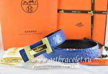 Hermes Reversible Belt Blue/Black Ostrich Stripe Leather With 18K Gold H Logo Buckle
