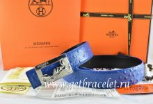Hermes Reversible Belt Blue/Black Ostrich Stripe Leather With 18K Silver Coach Buckle