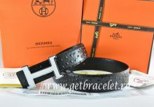 Hermes Reversible Belt Black/Black Ostrich Stripe Leather With 18K White Silver Narrow H Buckle
