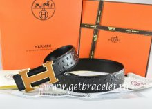 Hermes Reversible Belt Black/Black Ostrich Stripe Leather With 18K Orange Gold Width H Buckle
