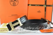 Hermes Reversible Belt Black/Black Ostrich Stripe Leather With 18K Gold Spot Stripe H Buckle