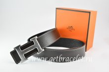 Hermes Reversible Belt Black/Black Togo Calfskin With 18k Drawbench Silver H Buckle