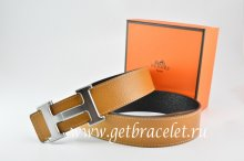 Hermes Reversible Belt Light Coffe/Black Togo Calfskin With 18k Drawbench Silver H Buckle