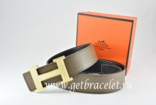 Hermes Reversible Belt Light Gray/Black Togo Calfskin With 18k Silver Wave Stripe H Buckle