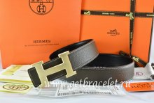 Hermes Reversible Belt Brown/Black Togo Calfskin With 18k Drawbench Gold H Buckle