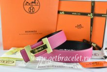 Hermes Reversible Belt Pink/Black Togo Calfskin With 18k Gold Logo H Buckle