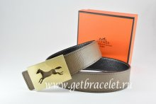 Hermes Reversible Belt Light Gray/Black Togo Calfskin With 18k Hollow Horse Gold Buckle