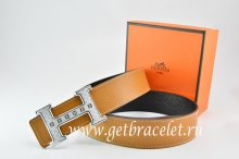 Hermes Reversible Belt Light Coffe/Black Togo Calfskin With 18k Silver Weave Stripe H Buckle