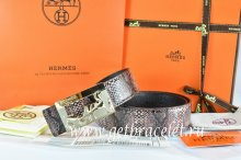 Hermes Reversible Belt Brown/Black Snake Stripe Leather With 18K Gold Coach Buckle