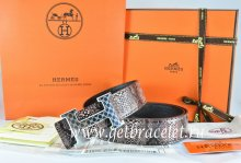 Hermes Reversible Belt Brown/Black Snake Stripe Leather With 18K Silver Plates Strip H Buckle
